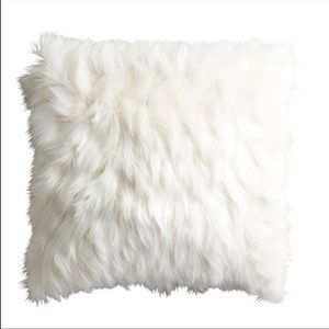 Pier One Faux Fur Feathers Ivory Throw Pillow